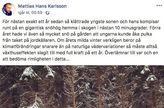 Mattias Karlsson uttalande om vädret